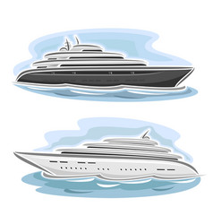cruising large mega yacht vector image
