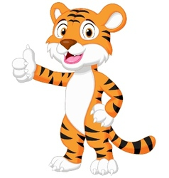 Cute tiger cartoon giving thumb up vector image vector image