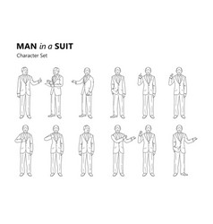 figure of an old man in a suit is standing vector image