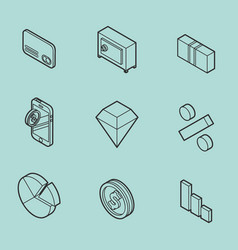 finance flat outline isometric set vector image vector image