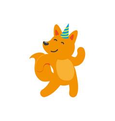 flat cartoon cheerful fox character dancing vector image vector image
