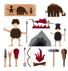flat design icons of paleo food and caveman theme vector image vector image