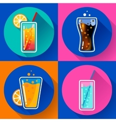 Flat Drink icons for web and applications vector image