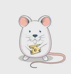 funny mouse keeps cheese vector image