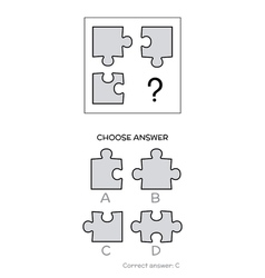 Iq test logical tasks composed of puzzles shapes vector
