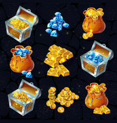 isometric treasure elements set vector image vector image