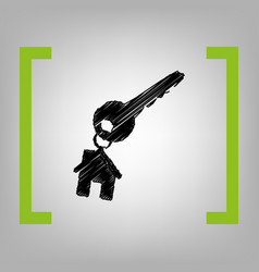 key with keychain as an house sign black vector image vector image