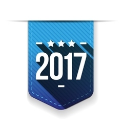 New Year 2017 blue ribbon vector image