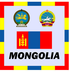 Official ensigns flag and coat of arm of mongolia vector