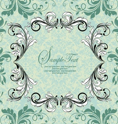 ornate vintage frame on damask background vector image