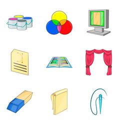 Painter icons set cartoon style vector