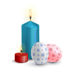 Realistic easter eggs with the burning candle vector