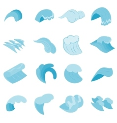 Sea waves icons set isometric 3d style vector image