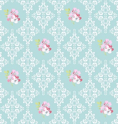 Seamless pattern with pink flowers and damask vector
