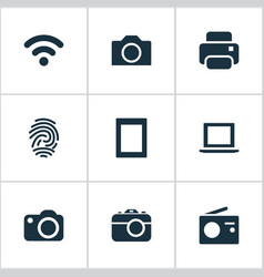 set of simple device icons vector image vector image