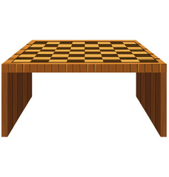 Wooden table with checker pattern on top vector