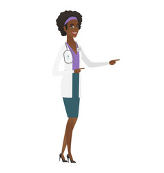 young african-american doctor pointing to the side vector image vector image