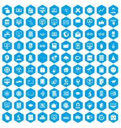 100 e-learning icons set blue vector