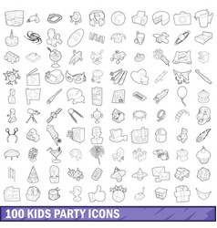 100 kids party icons set outline style vector image vector image