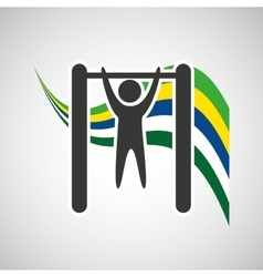 Uneven bar sportsman flag background design vector