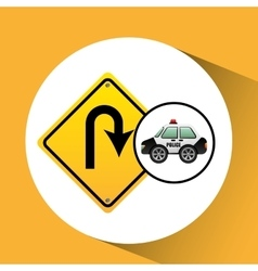 Car police with u-turn road vector