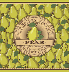 Vintage pear label on seamless pattern vector