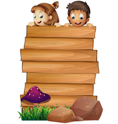 Wooden board template with boy and girl vector