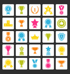 Award icons set prizes collection vector