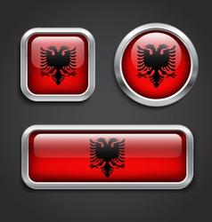 Albania flag glass buttons vector
