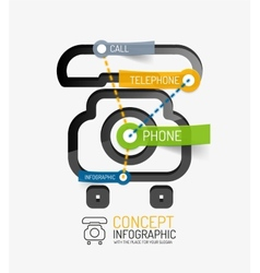Telephone infographic keywords line style vector image