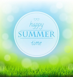 Summer time banner with green grass vector