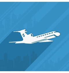 Symbol of the aircraft and the city vector