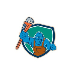 Angry gorilla plumber monkey wrench shield cartoon vector