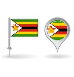 Zimbabwean pin icon and map pointer flag vector