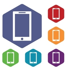 Tablet pc icon hexagon set vector