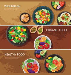 Food web banner flat design vegetarian organic vector