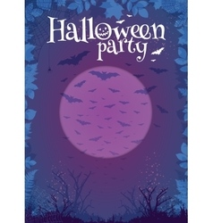 Halloween party purple poster template vector