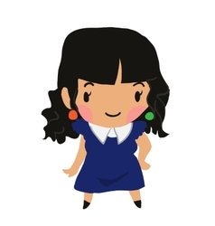 Cartoon girl flat sticker icon vector