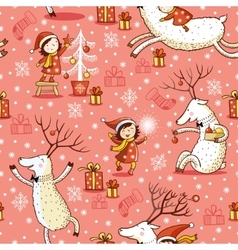 Seamless pattern with girl and deer vector