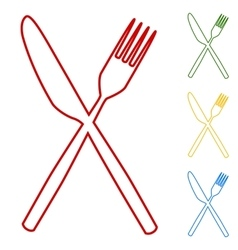 Fork and knife line icons vector