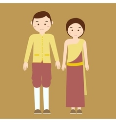 Couple man woman wearing thai traditional costume vector