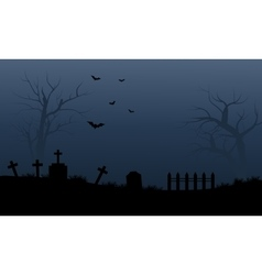 Silhouette of graveyard and bat halloween vector