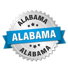 Alabama round silver badge with blue ribbon vector