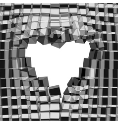Abstract 3D background with heart cracked vector image