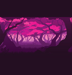 background with deep flat sakura forest vector image