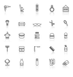 barber line icons with reflect on white background vector image vector image