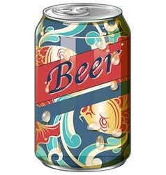 Beer in fancy design can vector image vector image