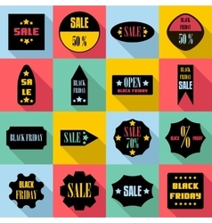Black Friday Sales signs icons set flat style vector image