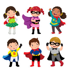 boys and girls in superhero costumes on white vector image vector image