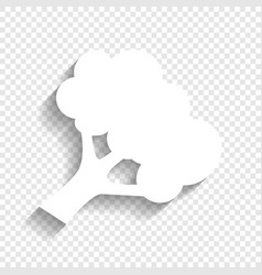 Broccoli branch sign white icon with soft vector